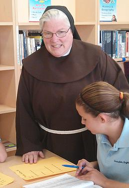Principal, Sr. Jerilyn Einstein in Guardian Angels Regional School Library